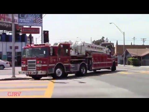 Long Beach Fire Truck 7 (Reserve) Responding