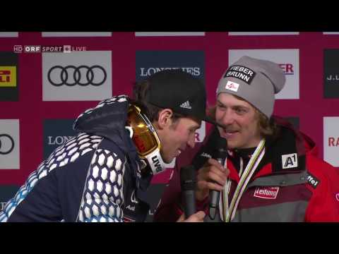 Felix Neureuther crasht Pressekonferenz mit Manuel Feller am 19.02.2017 in St. Moritz