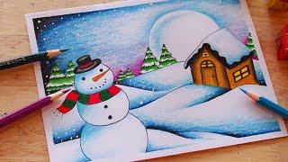 วาดรูปวันคริสมาสต์สวยๆ (สีไม้)⛄🎄| How to draw scenery Christmas drawing and Painting