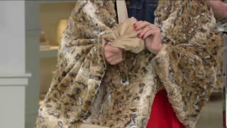 Dennis Basso Faux Fur Tote Bag with 32x60 quot  Lap Throw ... 246ef7492ccca