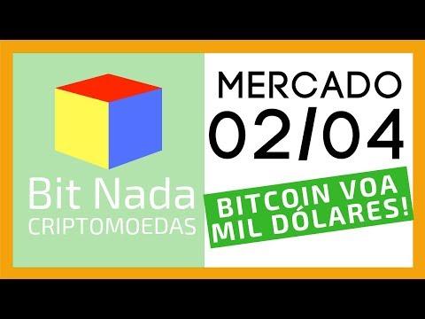 Mercado de Cripto! 02/04 BITCOIN SOBE MIL DÓLARES!! VOA BITCÃO!!