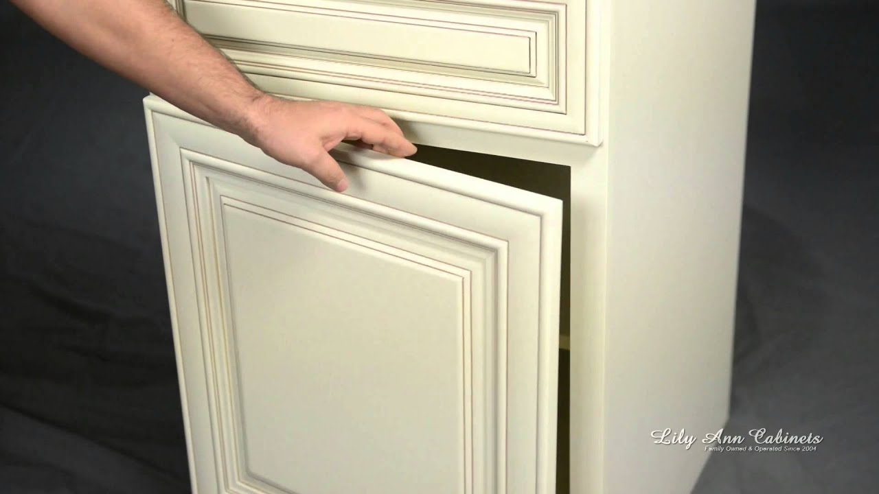 Lily Ann Cabinets Charleston Antique White Cabinet Features - YouTube