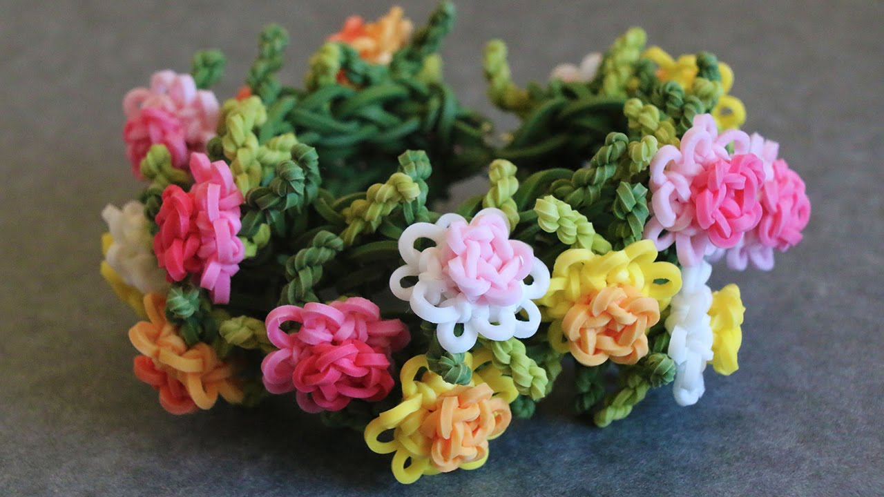 Rainbow Loom Chrysanthemum Bracelet Tutorial Youtube