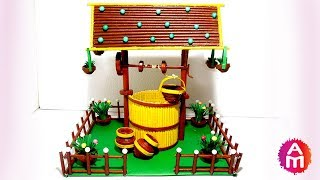 DIY artificial rustic water well showpiece | Newspaper crafts | Best out of waste