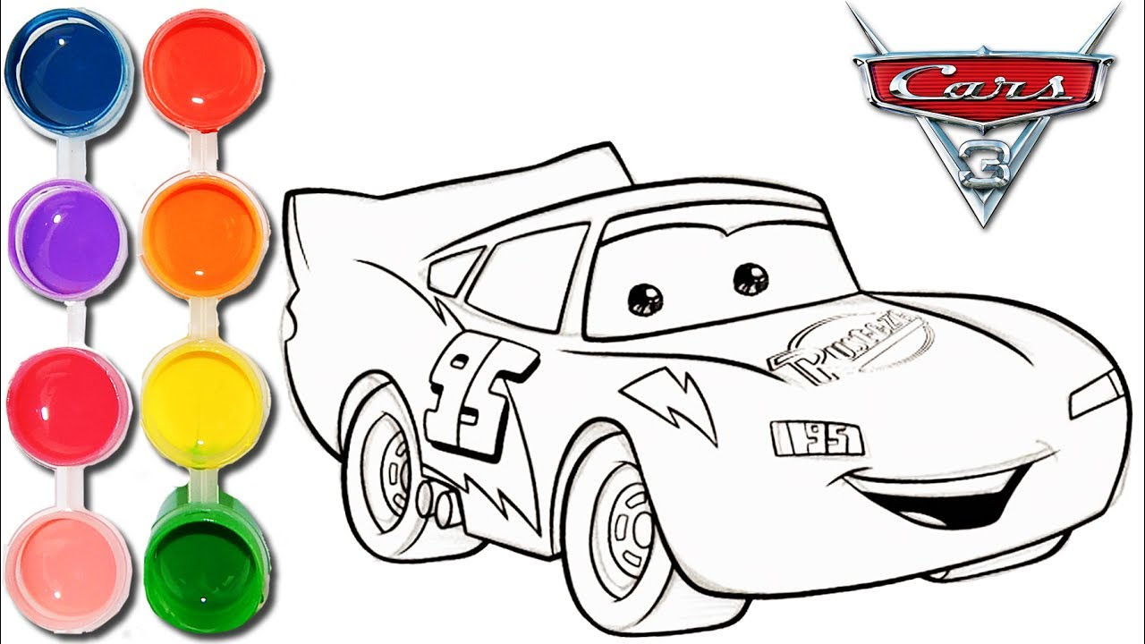 how to draw amp color cars 3 lightning mcqueen kids drawing