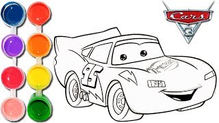 How to Draw & Color Cars 3 Lightning McQueen| Kids Drawing & Coloring Learning