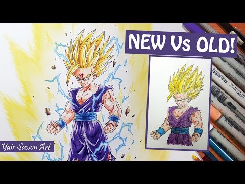 OLD vs NEW! Drawing Gohan Super Saiyan 2 | 2013 - 2017 Progress