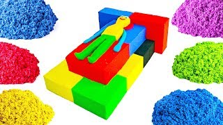 Learn Colors With Kinetic Sand Toy Bed Rainbow Heart Cake Ice Cream Toy Numbers With Fish