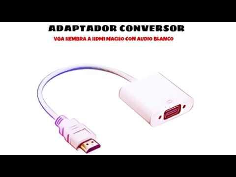 Video de Adaptador conversor VGA hembra a HDMI macho con audio  Blanco