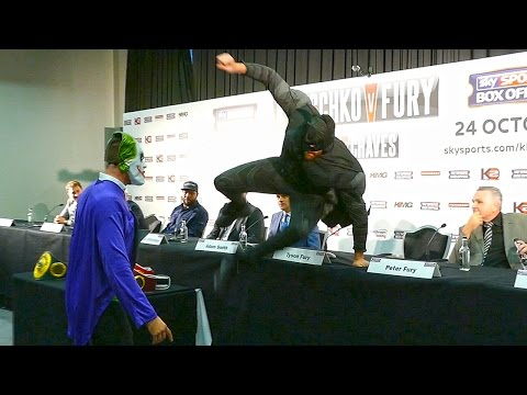 Tyson Fury ATTACKS THE JOKER at Klitschko vs. Fury PRESS CONFERENCE
