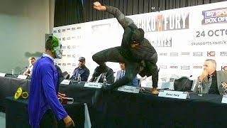 Tyson Fury ATTACKS THE JOKER at Klitschko vs. Fury PRESS CONFERENCE