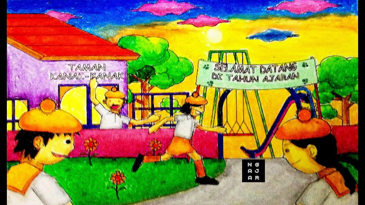 Mewarnai Gambar Sekolah Tk Versi Cepat Dengan Crayon Youtube