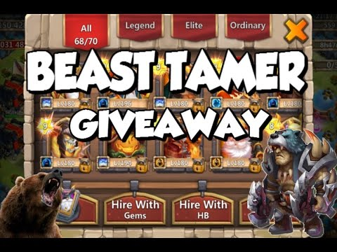 Castle Clash: NEW HERO - BEAST TAMER ACCOUNT GIVEAWAY | & Gameplay! See Him In Action!