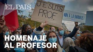 Miles de personas salen a la calle en Francia en homenaje al profesor degollado por un terrorista...