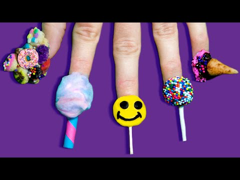 Full Set of Edible Nails Using ONLY Candy   Lollipop, Ice Cream, Cake Pop & Cali Donuts!