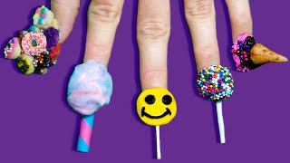 Full Set of Edible Nails Using ONLY Candy | Lollipop, Ice Cream, Cake Pop & Cali Donuts!