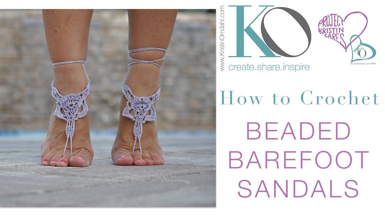 How To Make Beaded Crochet Barefoot Sandals Boho Summer Gift Free