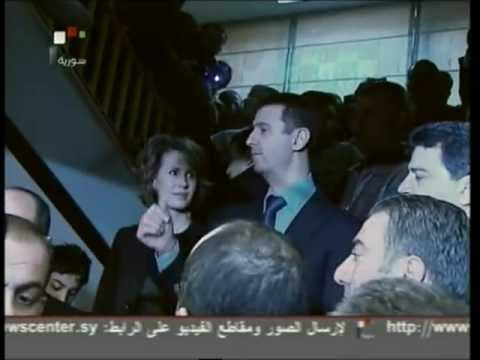 Syria TV - President Al-Assad at the Pooling Station & Live reports (26.02.2012)