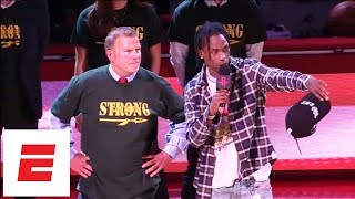 Travis Scott gives message to Santa Fe seniors before Game 5 of Rockets vs. Warriors   ESPN