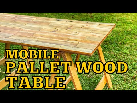 DIY Mobile Pallet Wood Farmhouse Table | How to Woodworking | Sawhorse Table