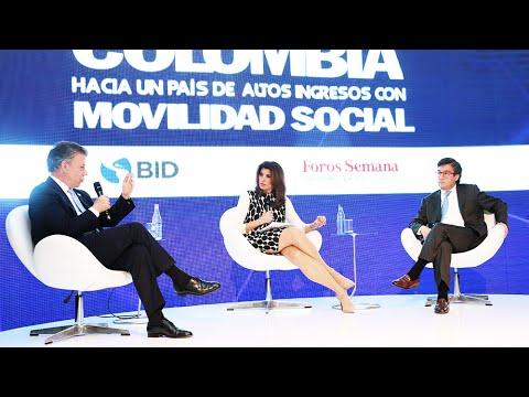 Juan Manuel Santos y Luis Alberto Moreno, presidente del BID, en entrevista con Angela P. Janiot.