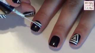 Crno-bela tribal šara na noktima (nail art za kratke nokte)