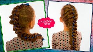4-х прядная коса с лентой|Детская косичка/4 strand braid with a ribbon