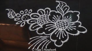 Free Hand Rangoli Design - Free Hand Kolam Design-rangoli Design With Flower  By Nagu's Handwork