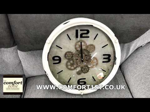 Rustic White Metal Mechanical Gear Wall Clock