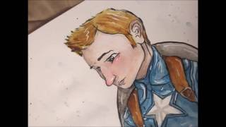 CAPTAIN AMERICA/STEVE ROGERS watercolor speedpaint. (Senior citizen duo part 1)