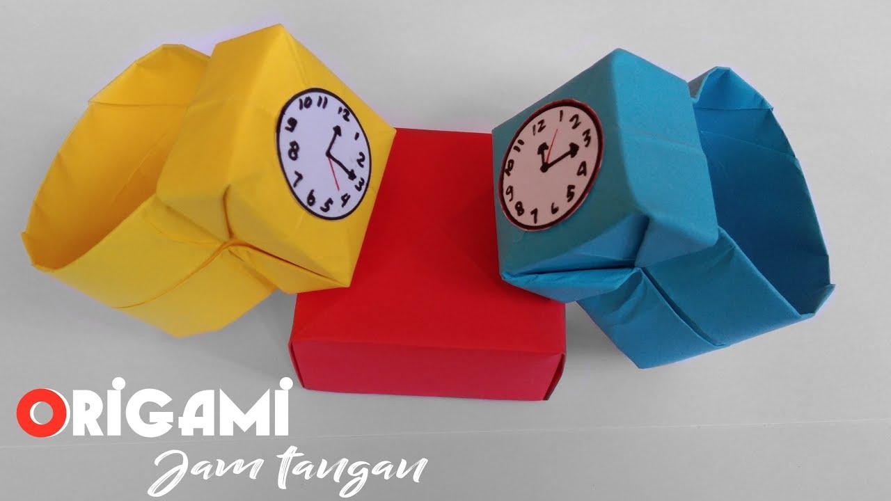 Origami Jam Tangan Cara Membuat Jam Dari Kertas Youtube