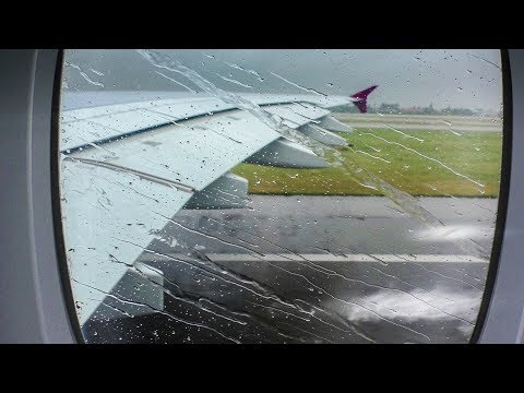 Water spray take off onboard A380 Qatar Airways from Paris CDG airport