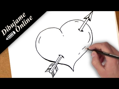 como dibujar un corazon con una flecha | como dibujar un corazon con ...