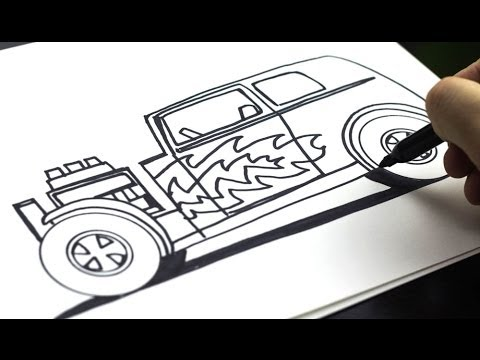 How To Draw A Hot Rod (for kids!) - YouTube