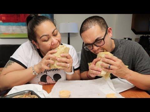 CALI TACOS | ANGEL BURRITO & CARNE ASADA TACO | MUKBANG (EATING SHOW)