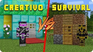 MODO CREATIVO VS SURVIVAL EN MINECRAFT 😱