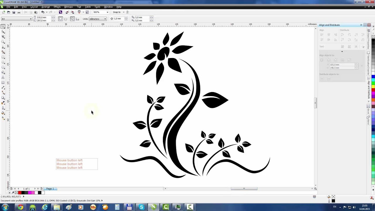 Line Art Corel Draw Tutorial : Coreldraw tutorial draw a flower tattoo youtube