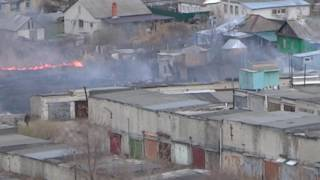 У Березиной Речки горит камыш около жилых домов