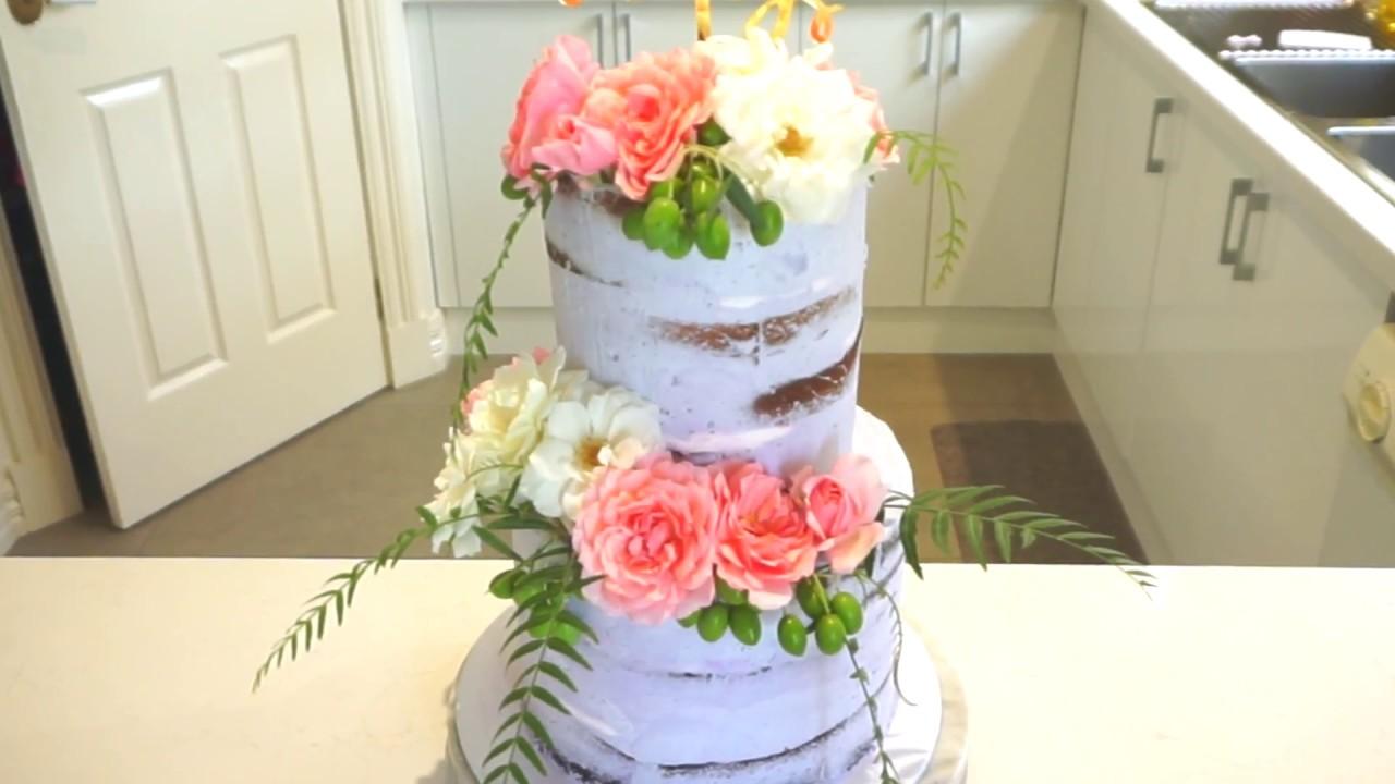 Naked Cake With Fresh Flowers Youtube