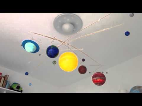 Illuminated Solar System Mobile in action - YouTube