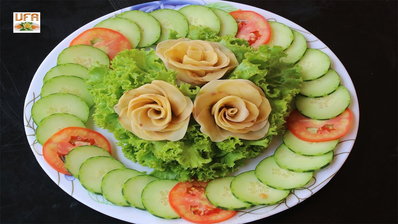 Potato Flowers With Salad Cucumber And Tomato Decoration Arts