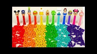 Learn Color shapes of Rainbow Play Doh Dippin Dots and Pez Candy Dispensers Learn Colors help