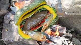 Yummy Cooking Country Food Such as Brain Crab and Clay Crab with Pumpkin to Survive-Primitive Eating