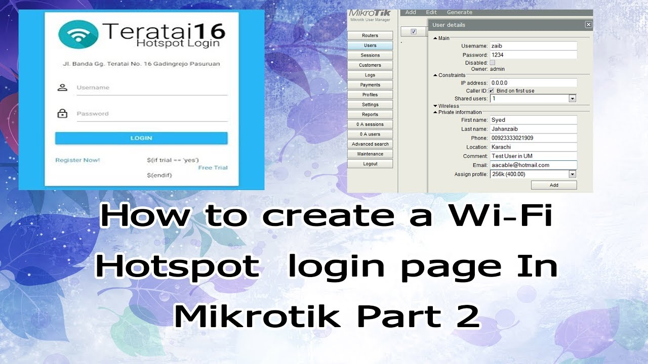 Mikrotik User manager Prepaid Billing System with Hotspot Part 3
