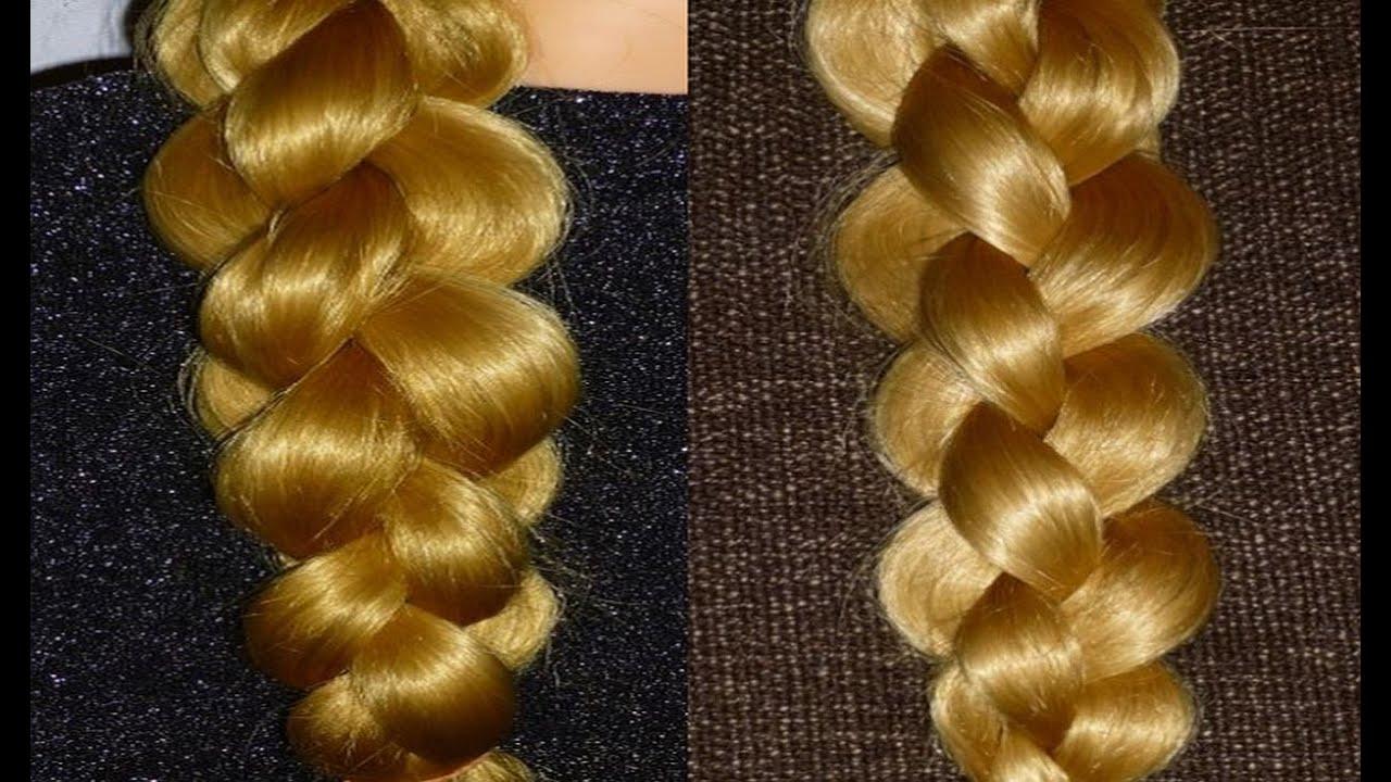 4 strand braid hair tutorial woven braid 3d round braid 4 ...