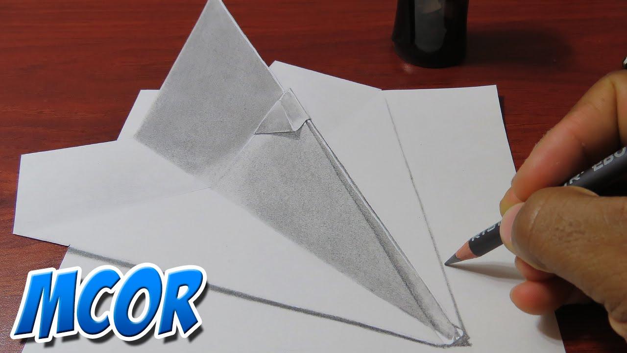 Como dibujar un avioncito de papel realista en 3d youtube - Papel para dibujar ...