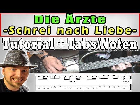 ★Ärzte SCHREI NACH LIEBE | BASS Tutorial + Melodie + TABS CHORDS