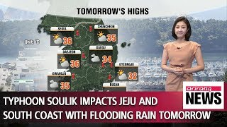 Typhoon Soulik impacts Jeju and south coast with flooding rain tomorrow _ 082118