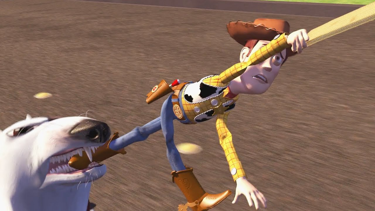 Toy Story 1995 Scud Vs Woody Buzz Chase Scene Youtube