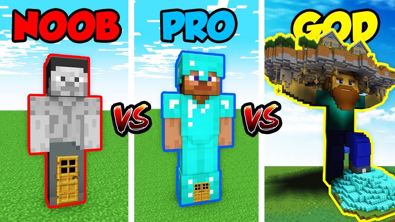 Minecraft Noob Vs Pro Vs God Steve House In Minecraft Animation Youtube